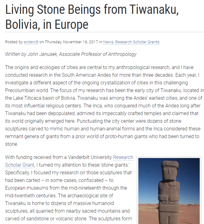 Living Stone Beings from Tiwanaku, Bolivia, in Europe