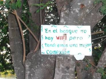 """In the woods there is not WIFI, but we will be able to have a better connection"" Cartagena (Photo G. Perez)"