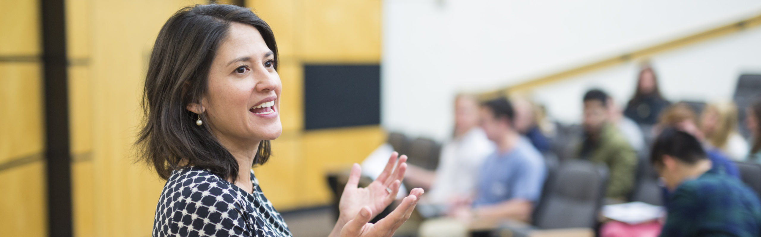 Economics professor Christina Rennhoff teaches a class in a lecture hall