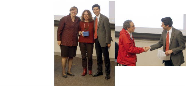 Congratulations! Professor Jane Landers won the Graduate Mentoring Award.  Professor Bill Caferro won the Graduate Teaching Award. These awards were presented by Dean Benton and Senior Associate Dean Stassun on Dec. 6, 2016.