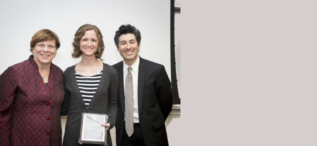 Dani Picard receiving the 2017 Outstanding Graduate Student Teaching Award from the College of Arts and Science.