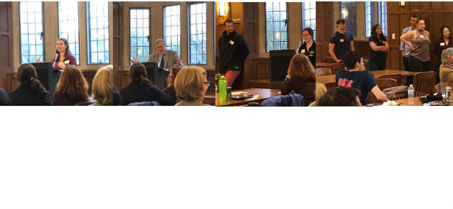 March 29 Dinner and Discussion, Seniors share thoughts, Professor Thomas Schwartz spoke.