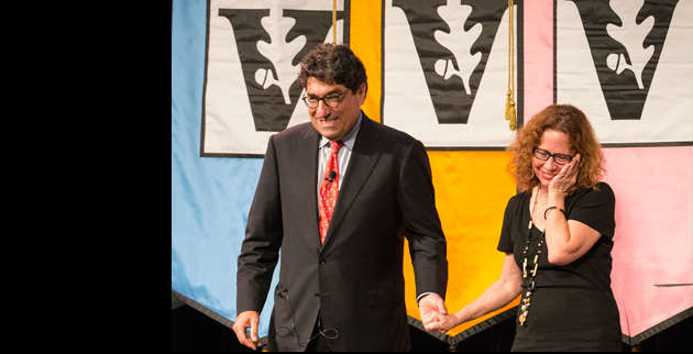 Chancellor Nicholas S. Zeppos (left) presents the 2014 Earl Sutherland Prize to Jane Landers, Gertrude Conaway Vanderbilt Professor of History. (Joe Howell/Vanderbilt)
