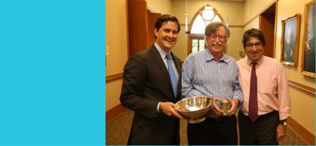"Chancellor Nicholas S. Zeppos presented the 2015 Chancellor's Cup to Associate Professor of History Frank Wcislo. The Chancellor's Cup is given annually for ""the greatest contribution outside the classroom to undergraduate student-faculty relationships in the recent past."""